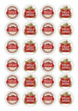 24 beer label stella artois ice/glaçage comestible fairy/cup cake/brioches toppers