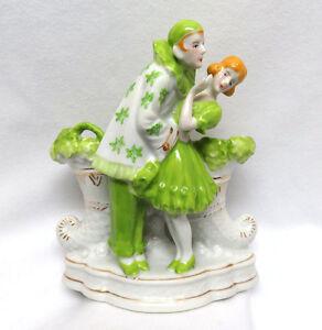 Vintage 1940's Japan Goldcastle Porcelain Figural Vase ~ Pierrot Clown & Girl