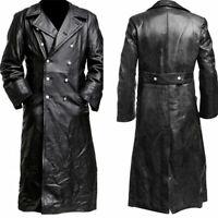 Men Full Length Leather Gothic Steampunk Long Maxi Jacket Trench Coat Plus Size
