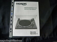 Thorens TD 170 / 170-1 Owner's manual Mode D'emploi  User's Manual