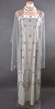 Nataya Hopeless Romantic Long Gown S Grey/White w/Shawl Formal Cocktail Dress