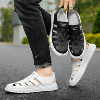 Men's Casual Faux Leather Sandals Hollow Closed Toe Summer Beach Shoes Flats New