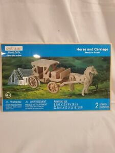 """Creatology Wooden Puzzle Horse and Carriage 3D 8.8""""L x 3.3""""W 3.6""""H Ages 6+"""