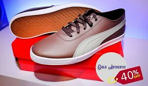 Mens Puma Urban SL Brown Leather Trainers 9 Footwear Shoes Sale!!