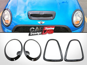 Gloss Black TailLight+HeadLamps Rims Trims Frame for Mini Cooper R56 R57 R58 R59