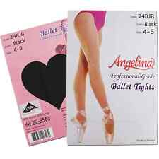 Angelina BLACK Professional-Grade Ballet Dance Tights Size 4-6 Girls/Teens S/M