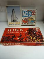 Vintage Family Board Game Bundle- RISK, The M25 GAME, New York Architecture Game