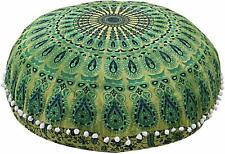 "Green Color Peacock Mandala 32"" Inch Round Large Floor Pillow Cushion Cover Art"