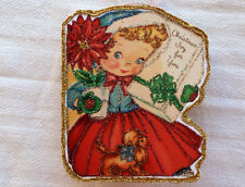 Glittered Wooden Christmas Ornament~Girl , Plant, Puppy~ Vintage Card Image`