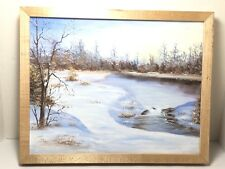 Vintage Painting on Canvas of Lake on A Winter's Day Signed 12 x 15 Framed
