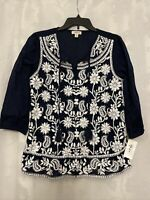 Style & Co Women's XL X-Large Embroidered Floral Knit Top Shirt Blouse Blue New