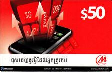 Cambodia nice M-Fone-card - 50 Dollar - as scan.
