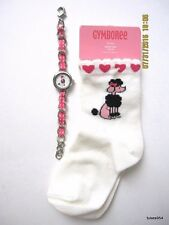 Gymboree Tres Chic Poodle Dog Socks 2-3 Bracelet Watch 2 Pc Set Pink Black 1 NWT