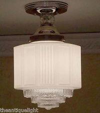 956 Vintage 30's arT DEco Ceiling Light Lamp Fixture Glass Hall  Bath  {4 Tier}