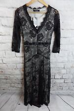 "Bnwt Dentelle Noire Doublé Robe Longue Taille 8 Buste Taille 34"" 26"" goth wicca dramatique"