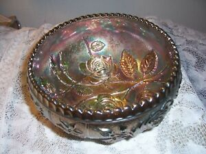 ANTIQUE GREEN LUSTRE IMPERIAL CARNIVAL GLASS OPEN ROSE BOWL VERY BEAUTIFUL