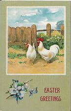 Antique Postcard Easter Greetings, Hen and Rooster in Farmyard, Maybe Linen?