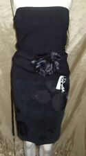 MUSE BLACK FLORAL STRAPLESS SILK TOP & SUEDE SLIP LINED SKIRT 2 PIECE SET SIZE 2