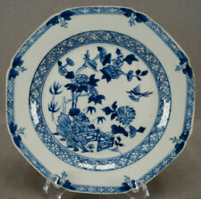 Mid 18th Century Chinese Export Qianlong Blue White Birds Tree & Fence Plate