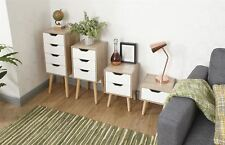 Stockholm Retro White Oak Bedside Cabinet Chest 1 2 3 4 Drawer or 4 Drawer Wide