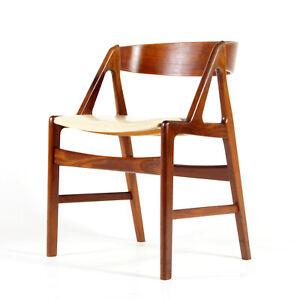 Retro Vintage Danish Kai Kristiansen Teak Desk Office Side Chair Armchair 1960s