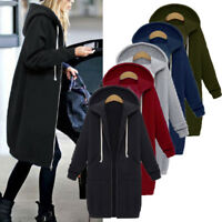Womens Oversized Winter Zip Loose Hooded Jacket Outwear Sweatshirts Dress Coat