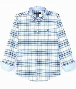 Brooks Brothers Boys Shirt Blue Size XL Plaid Classic Fit Button Front $49 210