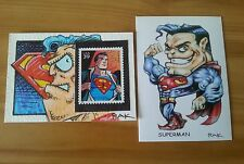 SUPERMAN WITH STAMP HAND DRAWN ORIGINAL ART COLOUR SKETCH CARD BY RAK DC COMICS