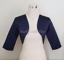 Dark Blue Satin Bolero/Shrug/Cropped Jacket/Stole/Shawl/Wrap/Tippet 3/4 New ///