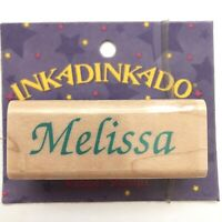 MELISSA Inkadinkado Name Personalized Calligraphy Rubber Stamp Wood Mounted 7460