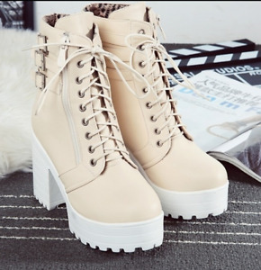 Women's Punk Chunky Heel Buckle Strap Combat Motor Platform Ankle Boots Shoes