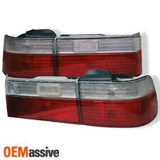 Fits 90-91 Accord 4Dr Sedan Ex Lx Se JDM Red Clear Tail Lights Brake Lamps Pair