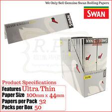 Swan Kingsize Slim Silver Rolling Papers - Ultra Fine - 25 Packs & 50 Packs