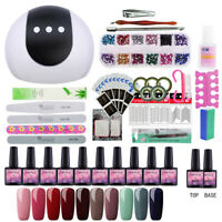 10Pcs Starter Nail Gel Polish Kit 24W LED Lamp Top Base Coat Nail Art Gift Kit