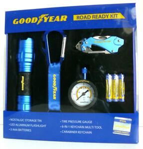 Goodyear ROAD READY KIT Flashlight, Gauge. Multitool Carabineer, Keychain IN TIN