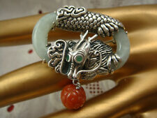 CARVED RED & GREEN JADE STERLING SILVER DRAGON DANGLE OVAL PIN BROOCH ENHANCER