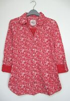 New Mistral Red Kettle Print Summer Tunic Blouse Top size 8 - 18