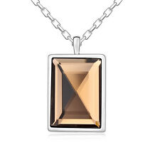 18K Gold GP Made With Swarovski Crystal Elements Simple Square necklace