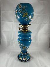 Victorian Bohemian French Opaline Enamel Glass Oil Kerosene Lamp Hand Painted