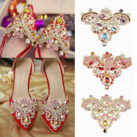 2x Wedding Bridal Spankle Rhinestone Crystal Shoe Clip Iron on Patch Applique