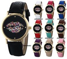 Ladies Novelty Lips Dial Analog Wrist Watch Leather Strap Quartz Various Colours