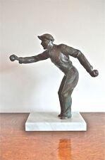 Con estilo original Art Deco Figura Sobre Base De Mármol boules Jugador petanca Tazones