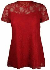 Womens Floral Lace Short Sleeve Ladies Flower Lined Patterned Stretch T-shirt 18