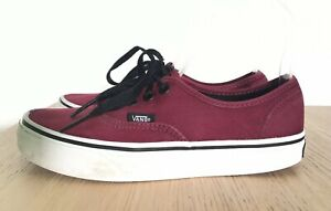 VANS OFF THE WALL Burgundy Red Ladies Trainers 4 36,5 Lace Up Canvas Plimsoles G