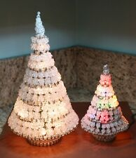"Pair Vintage Handmade Lighted Beaded Safety Pin Christmas Tree 14"", 8"" Multi"