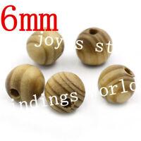 100 x Perles en bois Bijoux Fantaisie Colliers Bracelets Boules Taille : 6 mm