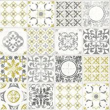 Grandeco Wallpaper - Luxury Porto Tile - Moroccan Tile Design - Yellow - A22901