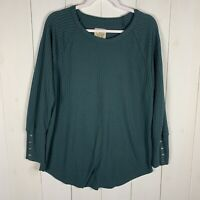 Chasor Long Sleeve Thermal Top Green Size Extra Large XL Waffle Knit Button Cuff