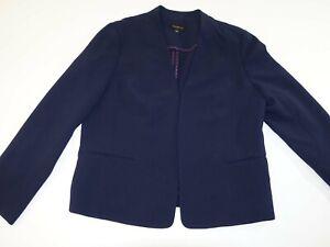 Talbots Women's Buttonless Blazer Jacket Size 16 Navy Blue Open Front Unlined