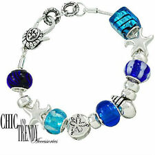 CLEARANCE STARFISH SAND DOLLAR CHARM MURANO GLASS BRACELET GREAT GIFT TRENDY